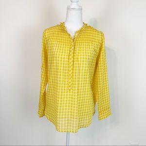J crew window pane plaid pullover blouse size 2